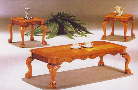 Honey Oak Queen Anne Coffee Table Set
